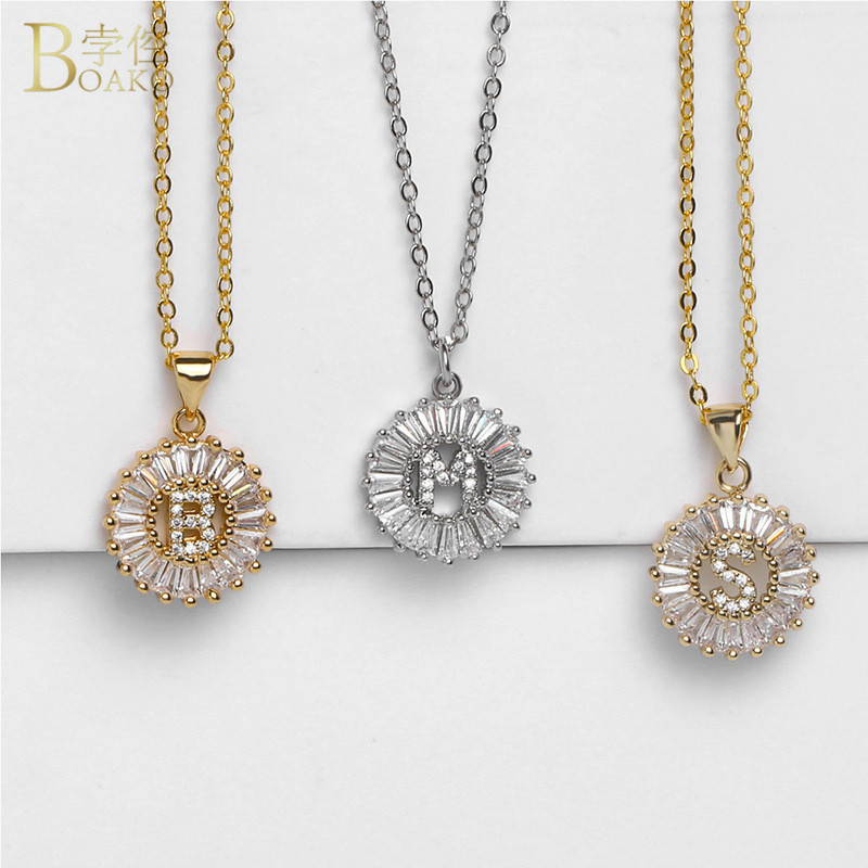BOAKO Initial Letters Necklace for Women Fashion Jewelry Long White Cubic Zirconia Pendant Necklace Charm Nameplate Necklace in Pendant Necklaces from Jewelry Accessories