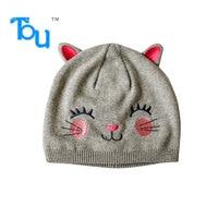 Tou Baby girl's winter hats warm hats Animal model cap lovely cat hats Crochet hats 0-4T 100%cotton