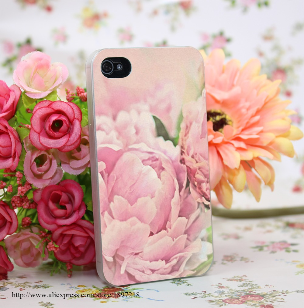 1191379Y Pink Peonies Hard Transparent Cover Case for iphone 4 4s 5 5s 6 6s Plus 7 7 Plus