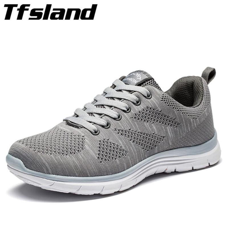 Tfsland Sommar Mäns Nya Sport Flyknit Racer Löp Skor Mjuka Män Kvinnor Andas Mesh Athletic Sneakers Krasovki Zapatillas