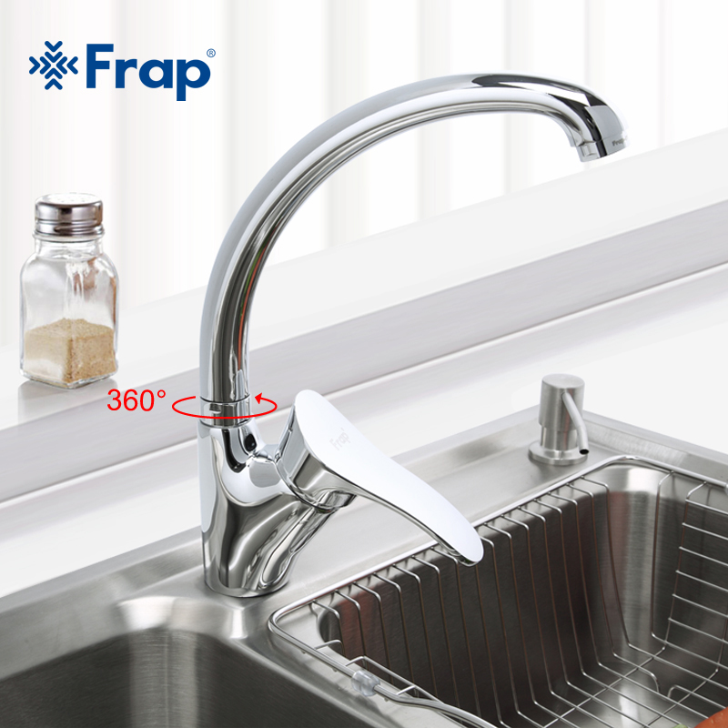 Frap Modern Style Kitchen Faucet Chrome Finish Single Handle Mixer Cold And Hot Kitchen Tap 360 Rotation F4101-2