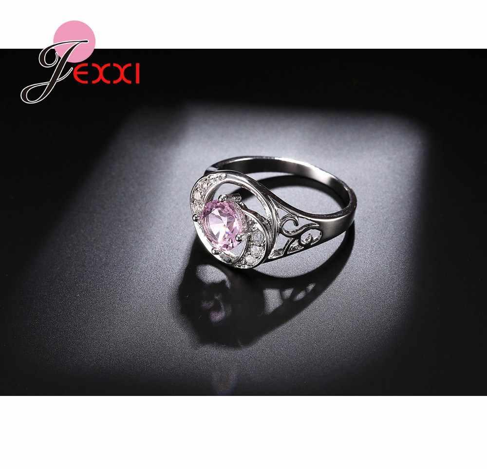 הולו עיצוב טבעת הטובים ביותר מאהב מתנות מלא חיקוי חן ורוד תליון טבעות 925 סטרלינג תכשיטי כסף טבעות