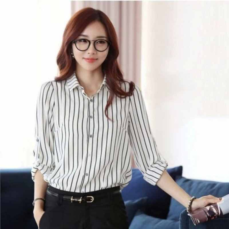 Vrouwen Verticale Gestreepte Blouse Slim Fit Lange Mouw Marine Stripes Fashion Top Dames Shirt Casual Blouse