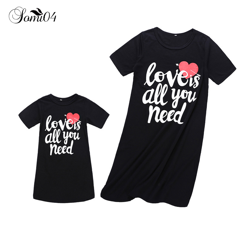 Family Matching Clothes Summer 2018 Mom Girls Dress Kids Short-sleeved Letters Love Prin ...