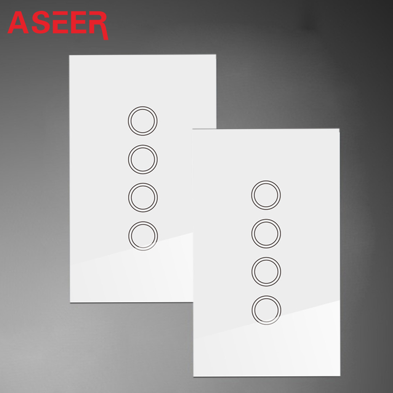 ASEER AU US Standard 1000W 4Gang 2Way Double Control Touch Switches Crystal Tempered Glass Intermediate Touch