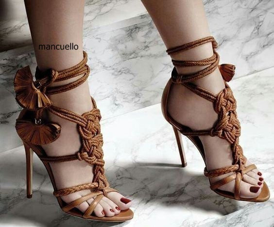 18e4863f52d51 New Trendy Design Brown Rope Fringe Flower Thin High Heels Dress Sandals  Women Open Toe Strappy Shoes Fancy Sandals Hot Selling