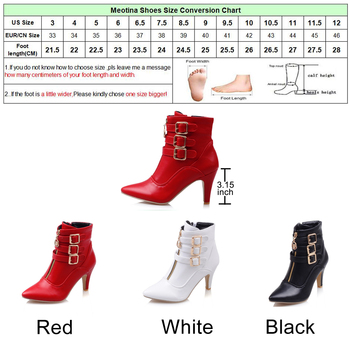 b2be492b75ae Meotina Shoes Women Boots Spring High Heels Ankle Boots Pointed Toe Buckle  Martin Boots Zip Ladies Shoes White Big Size 44 45 11 - Trendy Shoes Outlet