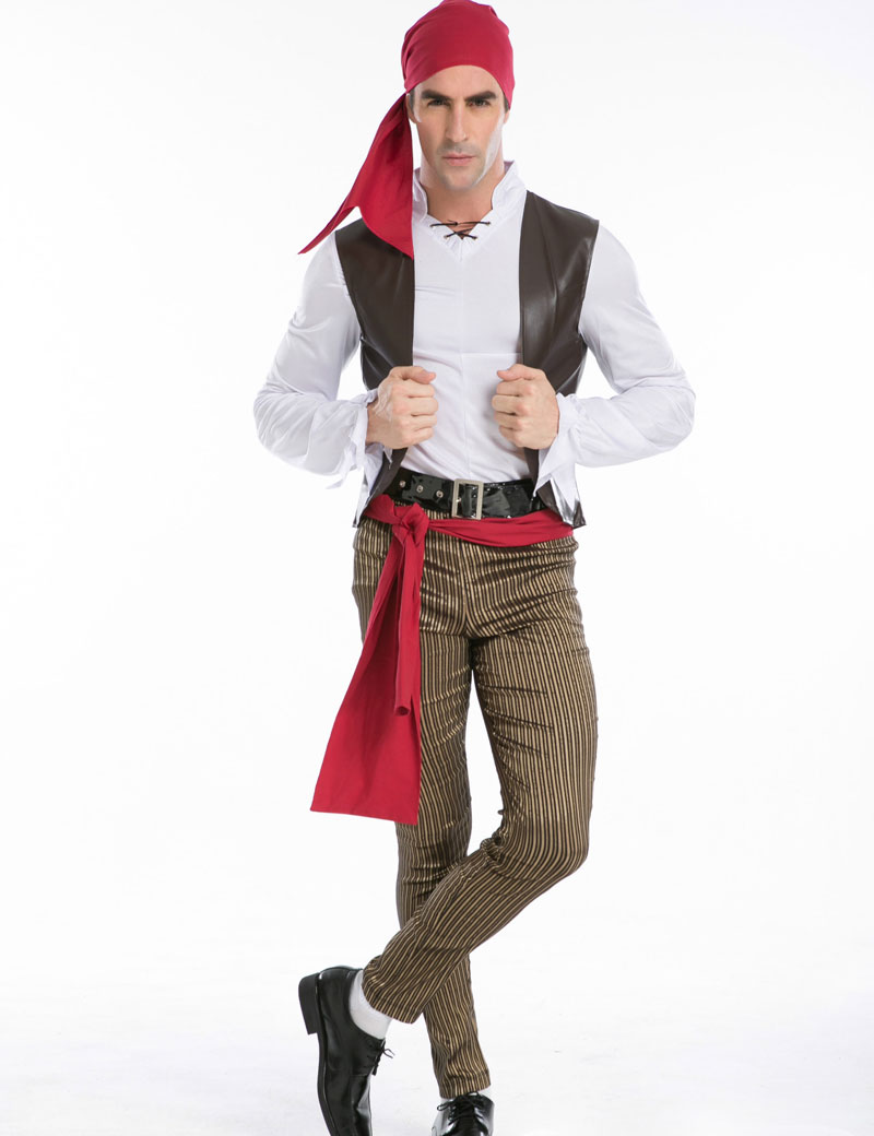 Halloween Costumes Adult Mens Caribbean Pirate Captain ...