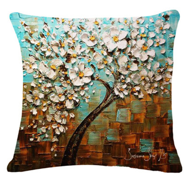 2017 Hot Selling Color Tree Home Decorative Sofa Cushion Throw Pillow Case Cotton Linen Square Pillows