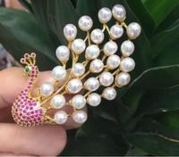 natural white pearl Phoenix brooch