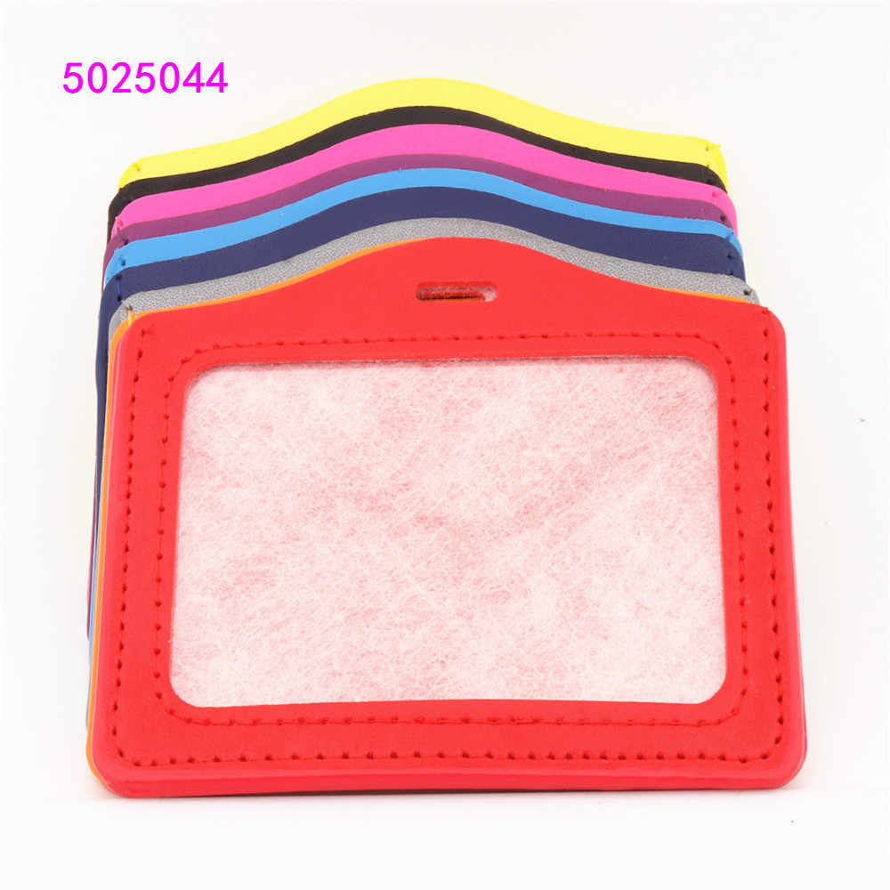 PU Horizontal card sleeve ID Badge  Bank Credit Card Badge Holder Accessories Reels Key Ring Chain Clips School student office