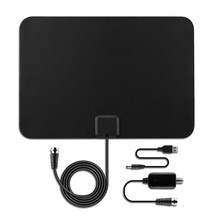 Premium Amplified HDTV Antenna 50 Miles Range Ultra-thin Indoor Digital HDTV TV Antenna with Amplifier Signal Booster EU Plug