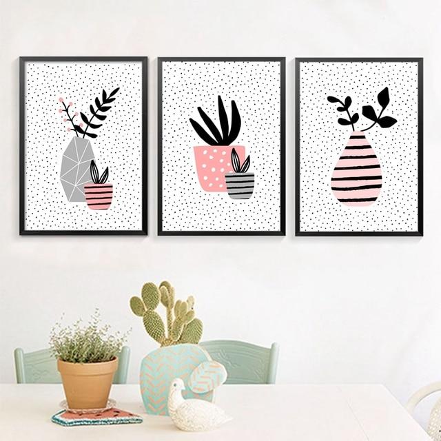 Nordic Wall Decor Scandinavian Vase With Succulent Plant Art Prints Poster Pot Plants Canvas Painting Home