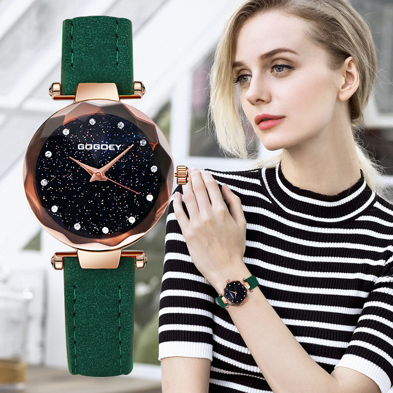 Gogoey Women's Watches 2018 Luxury Starry Sky Wrist Watch Top Brand Ladies Watches For Women Rhinestone bayan kol saati