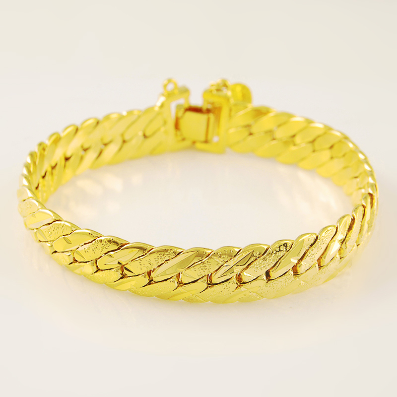 Most Popular Gifts For Women 2016 Part - 37: Women Men Most Popular 24K Gold Oblique Strip Chain Bracelet For Wedding  Anniversary Best Selling Jewelry