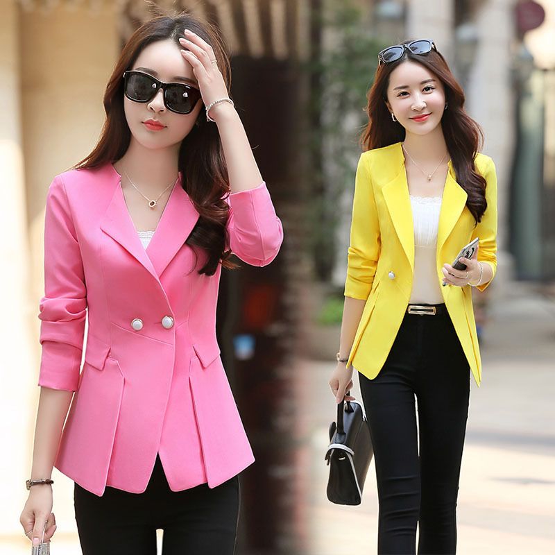 2017 Ladies Yellow Blazer Feminino Formal Jacket Women's Black Blaser Rosa Female Blue Women Suit Office Clothes High Quality