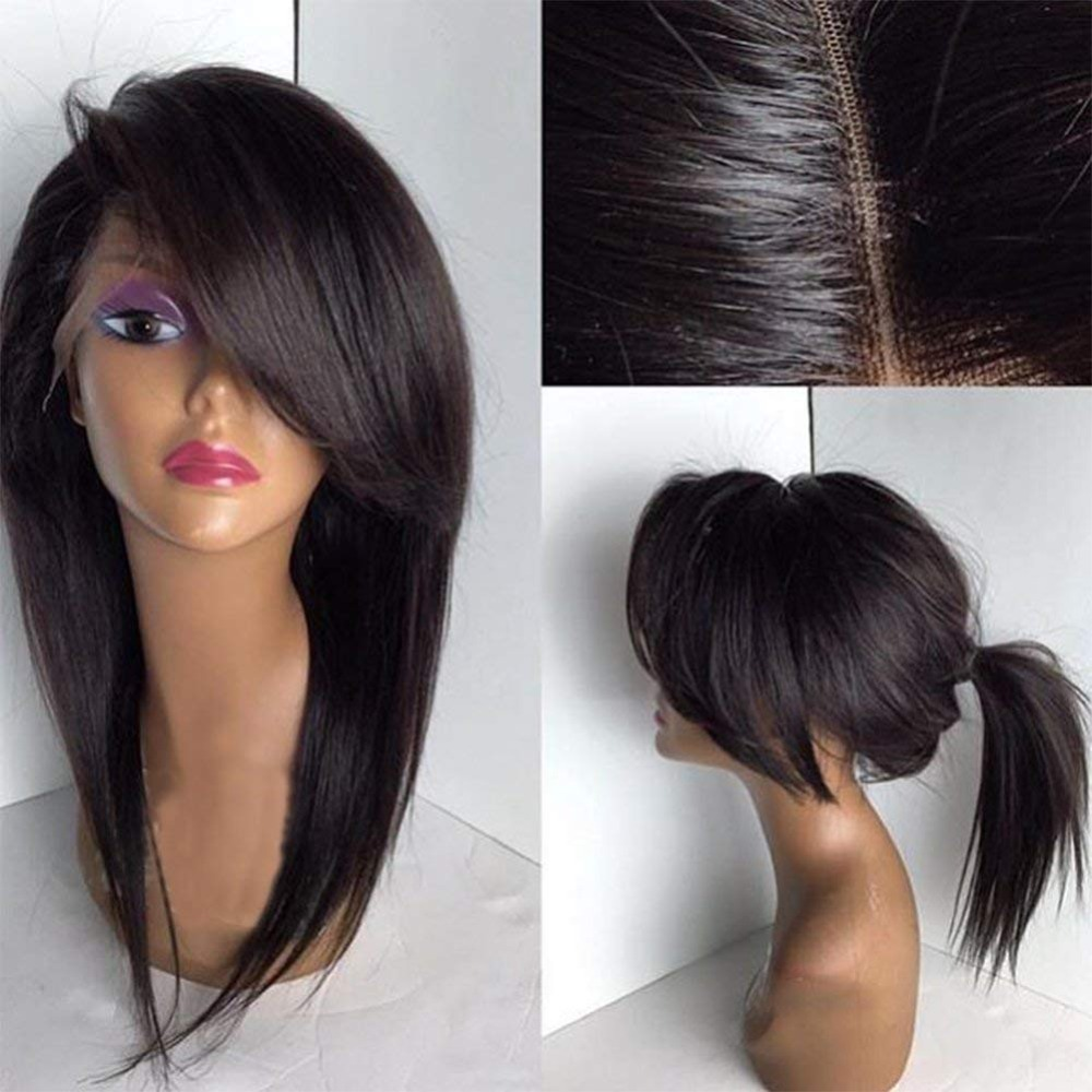 Eversilky Glueless Short Wig With Side Bangs Front Lace Human Hair Wigs Bob Style For Black Women Peruvian Remy Hair Wig