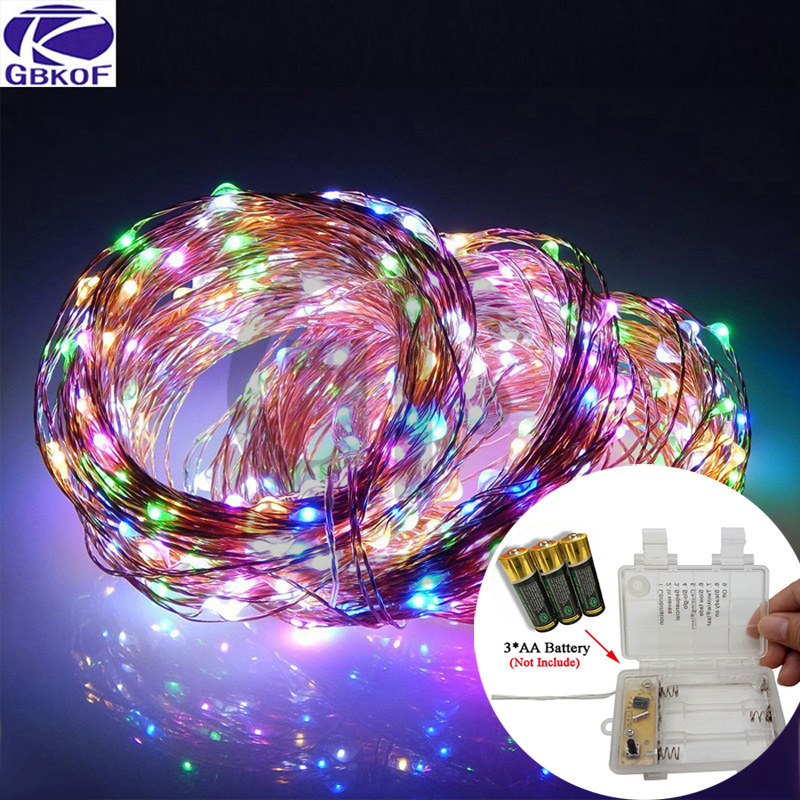 led string lights 10M 33ft 100led Battery outdoor White/Warm white/RGB copper wire christmas festival wedding party decoration
