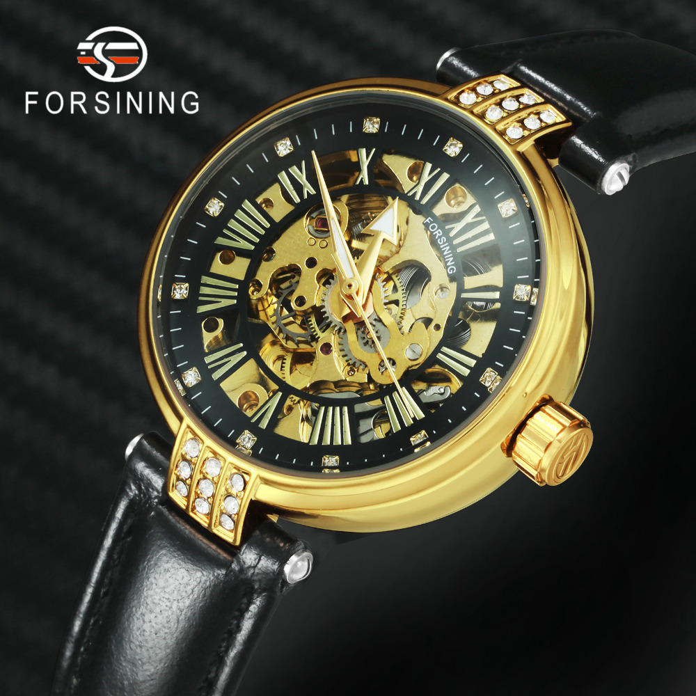 FORSINING Elegant Automatic Mechanical Women Watches Top Brand Luxury Leather Strap Skeleton Classic Dress Ladies WristwatchesFORSINING Elegant Automatic Mechanical Women Watches Top Brand Luxury Leather Strap Skeleton Classic Dress Ladies Wristwatches