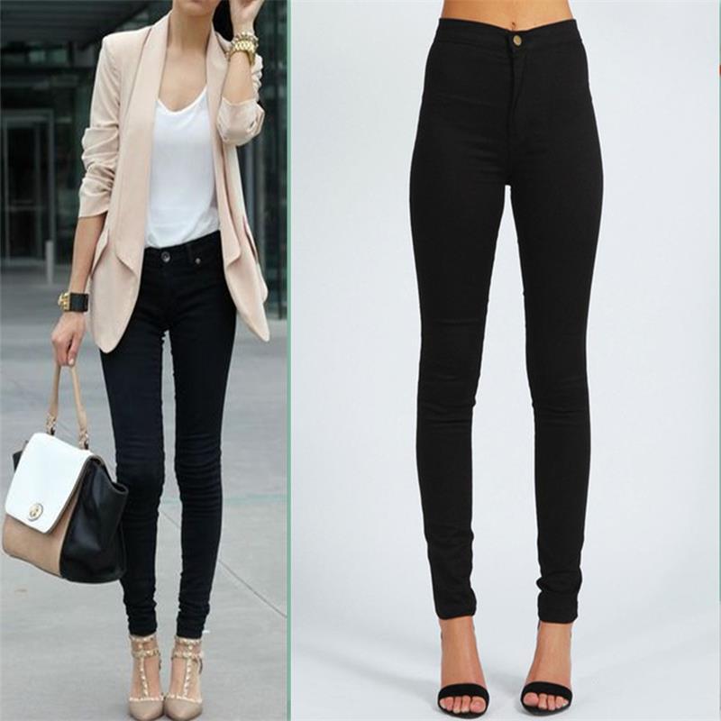 9e09bef8a Mujer cintura alta Jeans negro azul 2 colores Jeans ajustados Jeggings  Stretch Sexy lápiz pantalones pantalones en Pantalones vaqueros de La ropa  de las ...