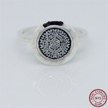 925 Sterling Silver Classic Signature Statement Rings for Women Jewelry Feature Central Glittering Disc Pave set Clear CZ FLR021