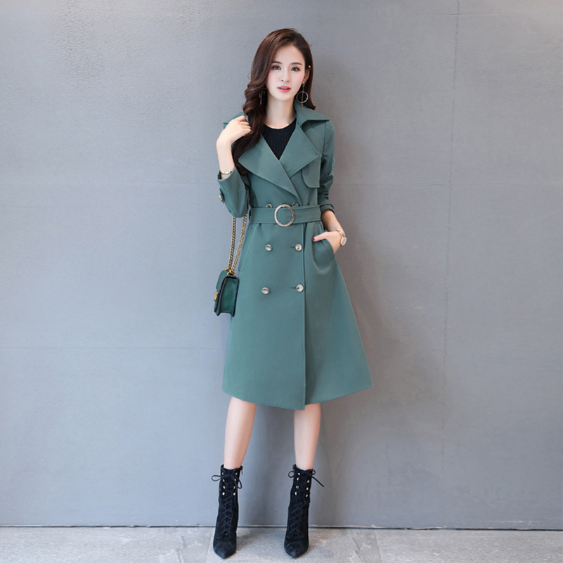 Abrigos Spring Autumn 2019 Korean Fashion double breasted long simpleTrench Coat Mujer Slim Belt large size5XL Windbreak Outwear in Trench from Women 39 s Clothing