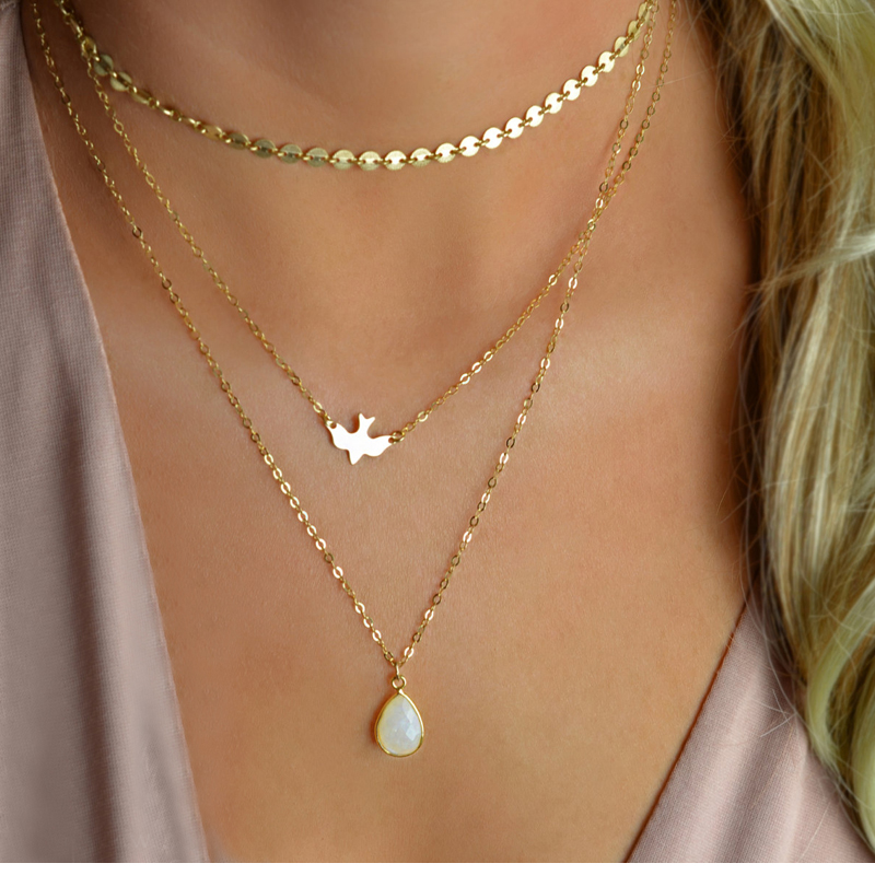 Faux Stone Layered Necklace Peace Dove Bird Cute Sequins