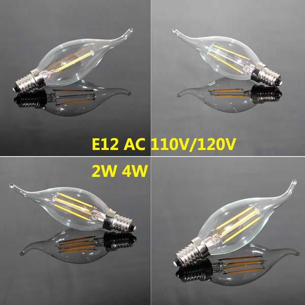 New Design 2W 4W E12 110V AC Dimmable E12 C35 <font><b>LED</b></font> Filament Candle <font><b>Bulbs</b></font> CRI 80 <font><b>360</b></font> Degree 10Pcs/Lot Free Shipping image