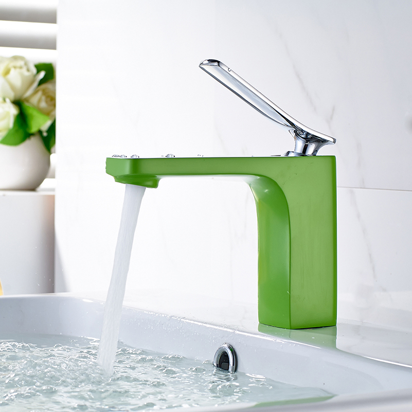 FLG Chrome Solid Brass Bathroom Basin Sink Mixer Tap Faucet Green ...