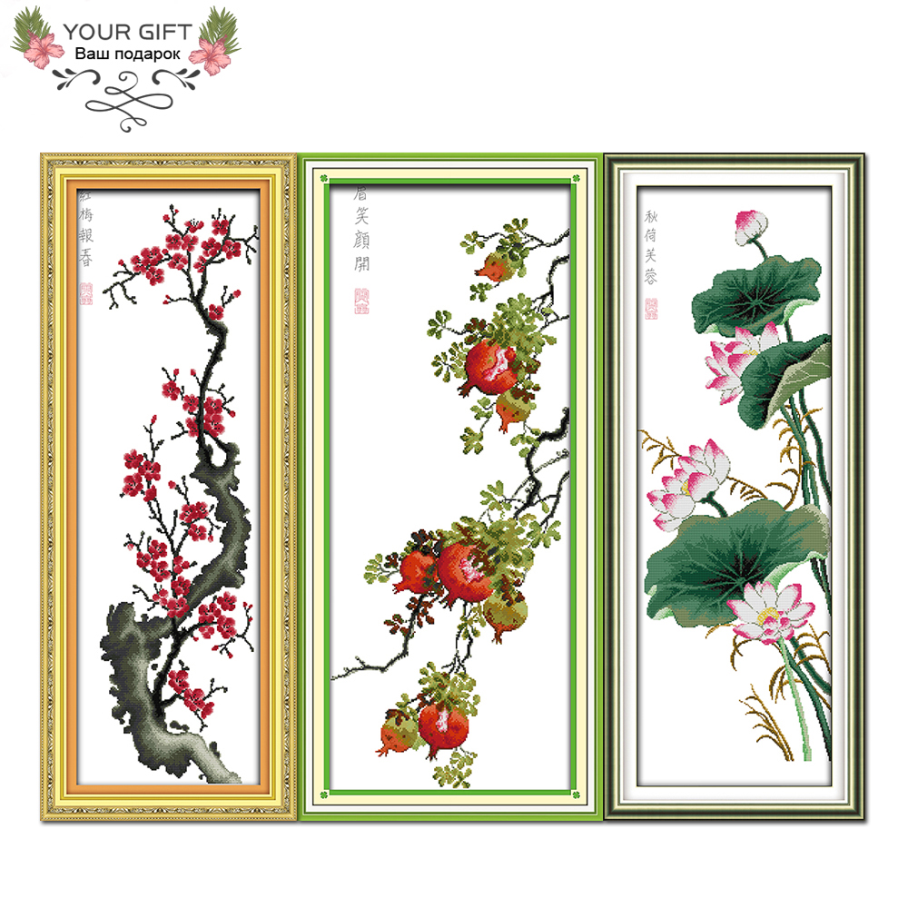 Joy Sunday H254H255H256 14CT 11CT Counted and Stamped Home Decor Spring Red Plum Eyebrow Open Smile Autumn Cross Stitch kits image