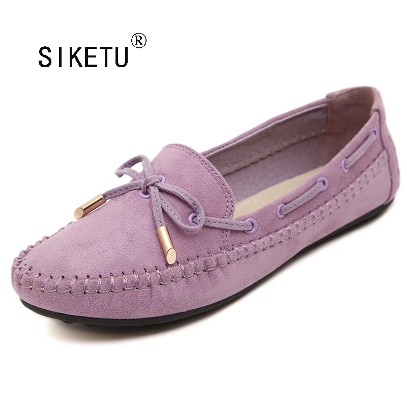 Size Plus 41-44 SIKETU Woman Flats Elegant Bowtie Soft Sole Loafers Slip-on Spring Autumn Shoes Woman Casual Spring Women Flat siketu best gift baby flats tassel soft sole cow leather shoes infant boy girl flats toddler moccasin bea6624