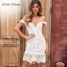 WildPinky 2019 New Style Summer Women White Lace Bodycon Dress Off Shoulder Strapless Sexy Slash Neck Short Dresse Vestido