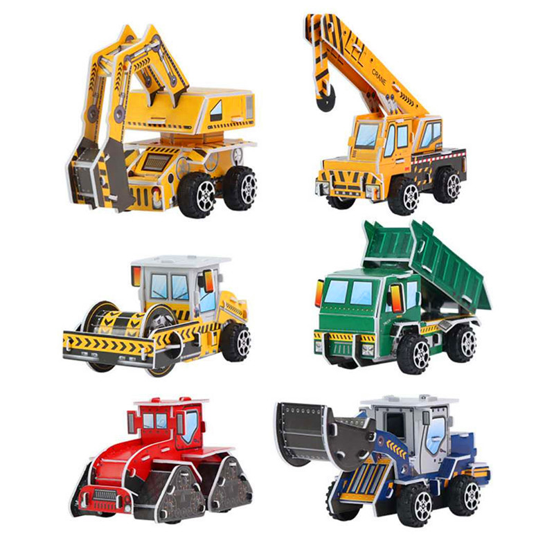3D Engineering Car Paper  Stereoscopic Model DIY  Puzzle Kids Learn Growth Game Puzzles A Gift For A Child