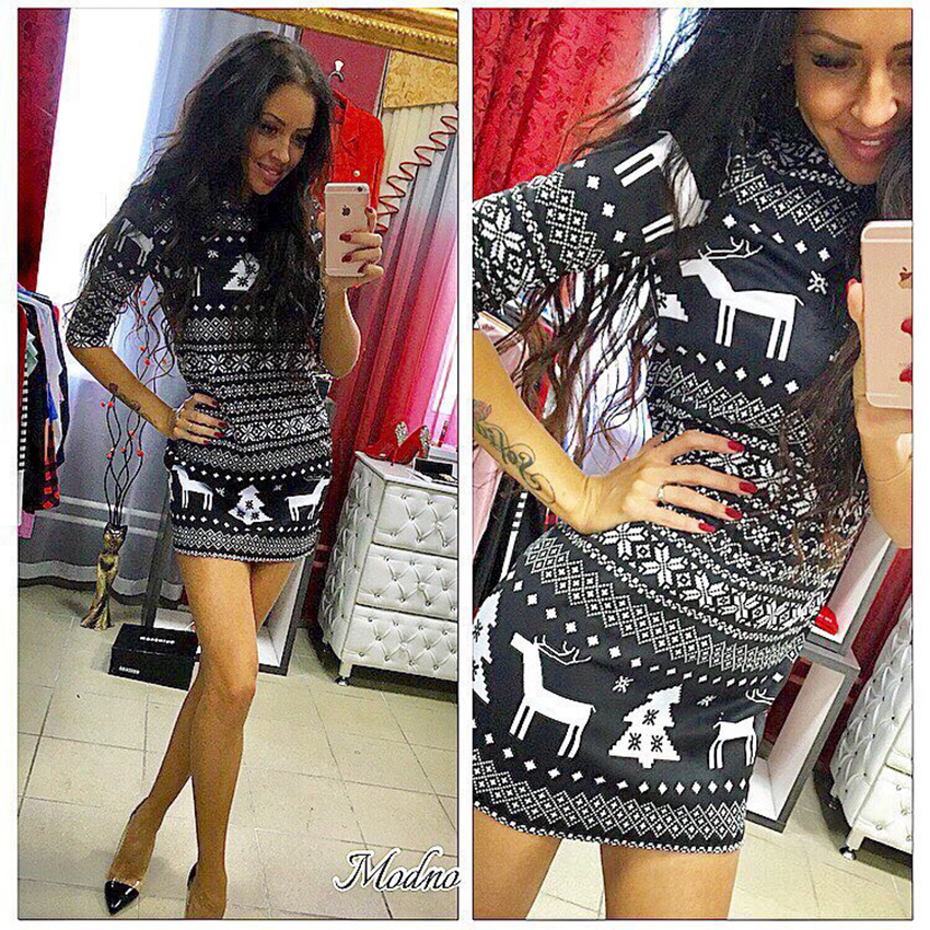 2017 Autumn Winter Fashion Women Knitted Dresses Christmas Dress O Neck Printed Dress