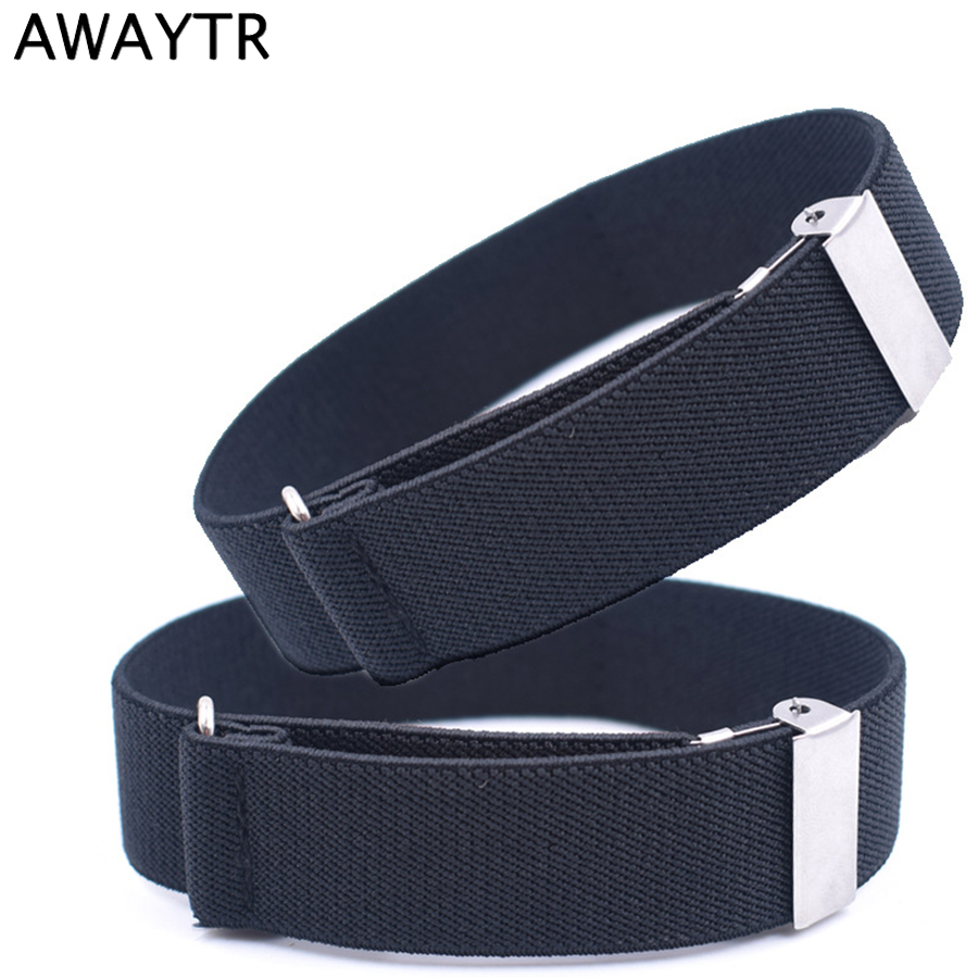 AWAYTR 1 Pair Fashion Canvas Armband Sleeve Garter Elastic Adjustable Anti-slip Shirt Sleeve Holder Unisex Armbands Men 2.5*35cm
