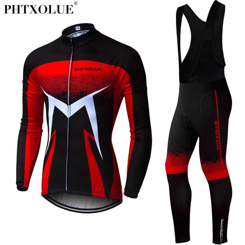 Phtxolue 2019 تنفس طويلة الأكمام الدراجات مجموعة دراجة هوائية جبلية الملابس الخريف دراجة الفانيلة الملابس مايوه روبا Ciclismo
