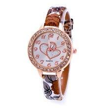 2017 Hot Sale Fashion Loving Heart Women Faux Leather Strap Band Analog Quartz Wrist Watch