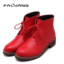 Large Size 33-43 Snow Boots 2015 Concise Style Women Ankle Boots Lace Up Design Round Toe Platform Shoes Square Low Heels