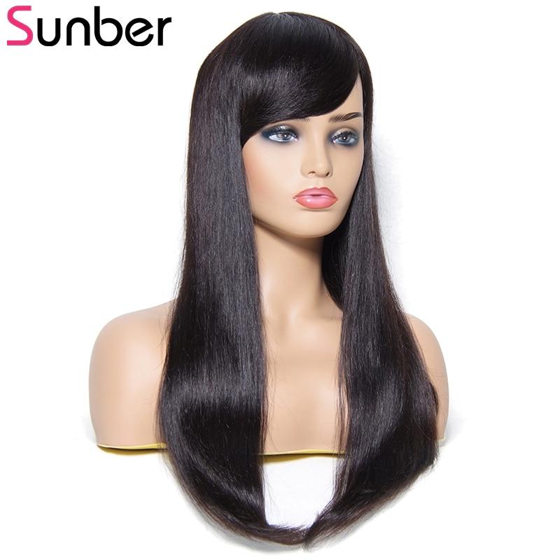 Sunber Hair Straight Human Hair Wigs With Bang 100% Brazilian Remy Hair Long Hair Wig 22Ich Natural Colour