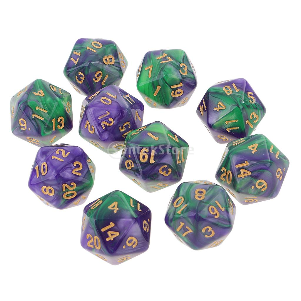10PCS D20 Polyhedral Dice for Dungeons and Dragons DND MTG Green Purple