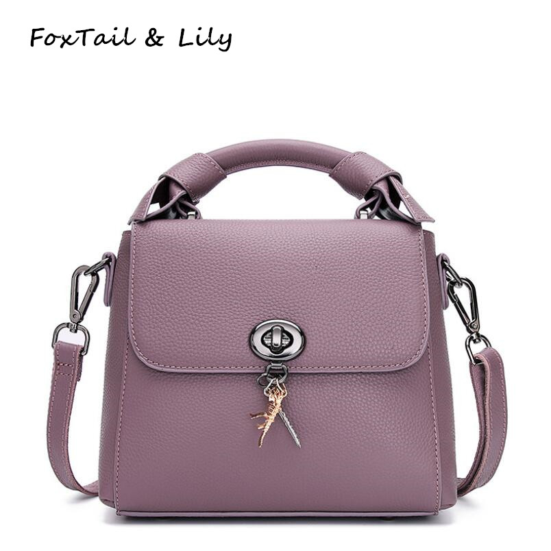 FoxTail & Lily Real Leather Bags Women Luxury Designer Handbags High Quality Genuine Leather Small Tote Shoulder Crossbody Bag ladies luxury designer handbags high quality real genuine leather tote bag chain lock crossbody bags for women shoulder handbags