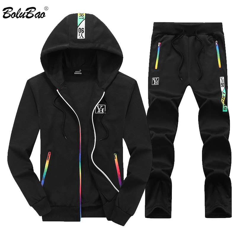 BOLUBAO Men Set Tracksuits Hooded + Pants 2019 Autumn Male Two Piece Sets Clothing Men's Casual Track Suit Sportswear