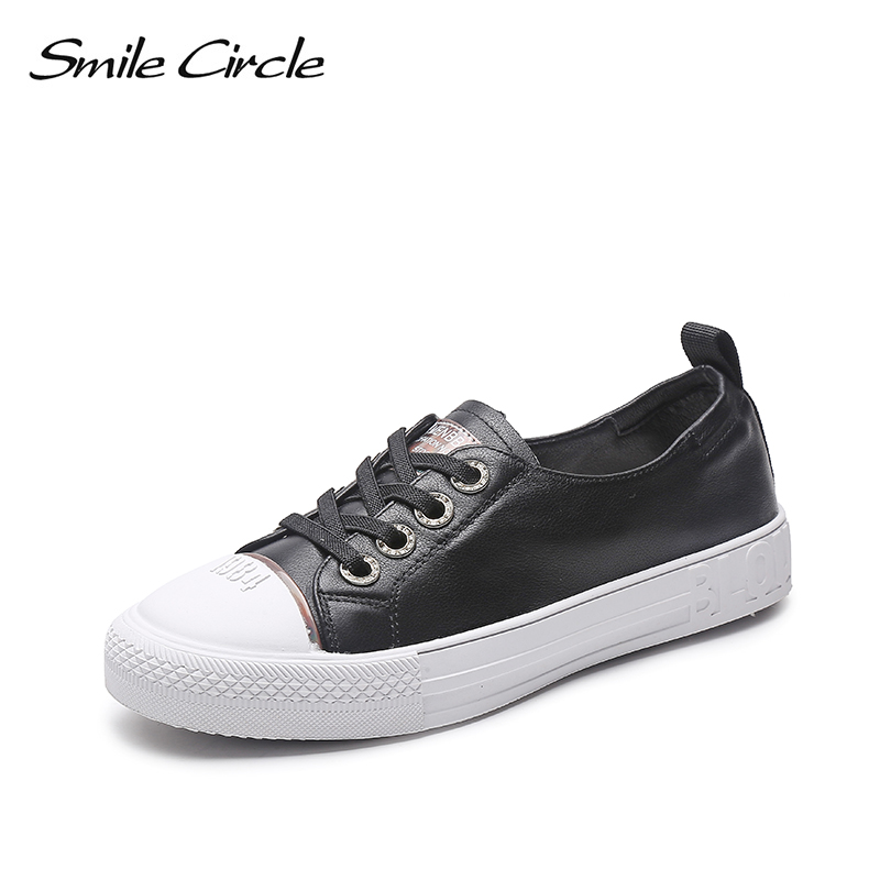 Smile Circle Genuine Leather White Sneakers Women Lace up Flat Casual shoes Spring fashion Rhinestone canvas