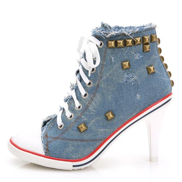 Fashion 8cm high heel sneakers women denim shoes vintage