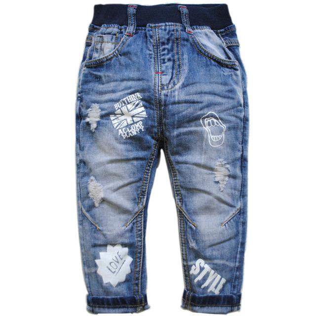 3908 calças de brim do furo jeans meninos do bebê casuais calças calças dos miúdos das crianças roupas de primavera ou no outono azul moda de nova