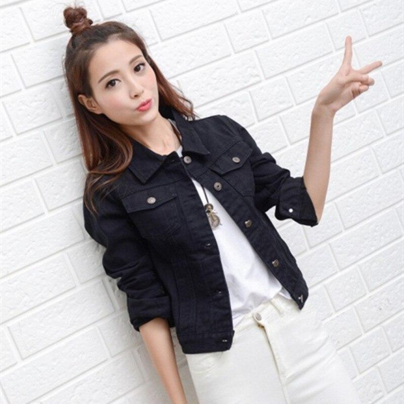 Women Denim Jacket Coat Black Jeans Jackets Frayed 1