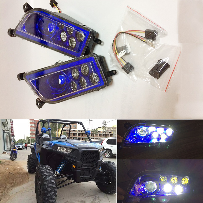 2 PCS  Blue ATV LED Headlight Kit Headlamp for Polaris Razor Push 1000 2014-2016 Polaris RZR 900 XP 4 Turbo цена