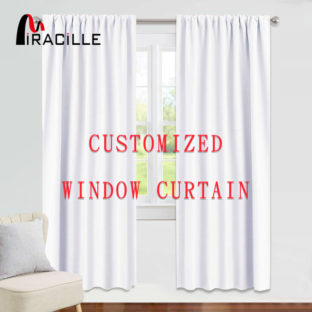 Miracille Customized Blackout Window Curtains With Your Own Image Satin Curtains For Living Room Bedroom Home Decor