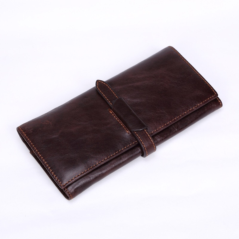 Luxury Brand 100% Genuine Cowhide Leather Portomonee Vintage Walet Male Wallet Men Long Clutch with Coin Purse Pocket Rfid 9016