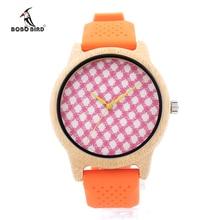 Роскошные 2016 Кварцевые Часы Женщины Бамбука Часы Силиконовой Лентой Часы Наручные Часы Леди Кварцевые часы Montre Роковой Relógio Feminino